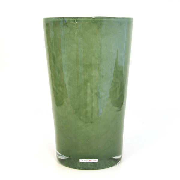 green glass vase - cylinder with slightly smaller base than rim