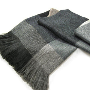 Grey Wool & Alpaca Throw - Azzuro Blue