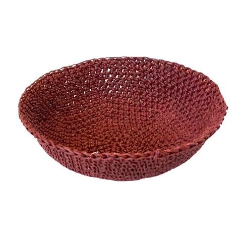 Crocheted & Resin Medium Hemp Bowl - Burgundy