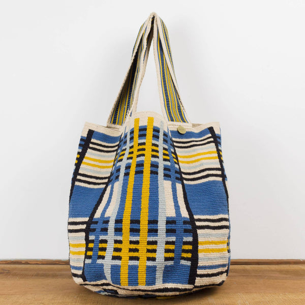 Wayuu Large Tote - Blue, Black & Mustard