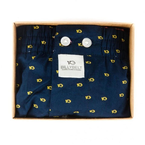 Mens Cotton Boxer Shorts - Blue Yellow