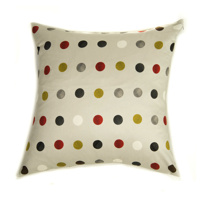 Silk Cushion Graphic Red & Green Dots