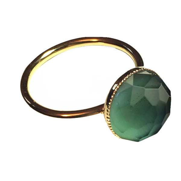 Pom Crystal Ring Blue Green