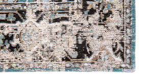 closeup of edge of pale faded carpet with blue detail