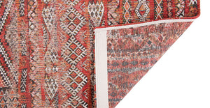 Underside of rug with Morrocan nomad pattern in red tones.
