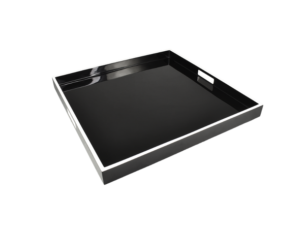 Black with White Trim Serving Tray