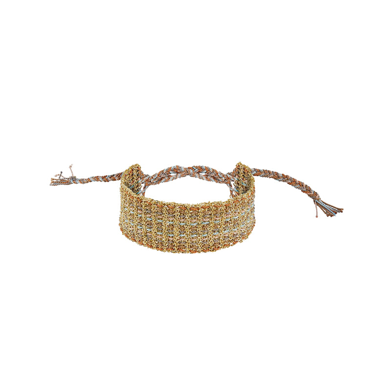 Sterling Silver & Silk Yarn Bracelet Fringed with 24K Gold