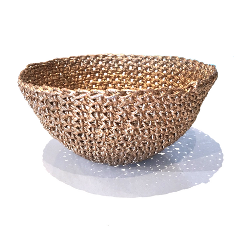 Crocheted & Resin Small Hemp Bowl - Bronze