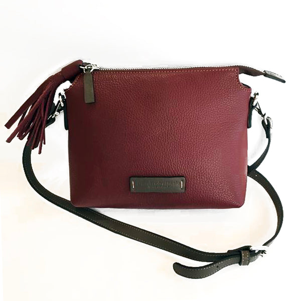 Adria Crossbody Bag Burgundy with Taupe