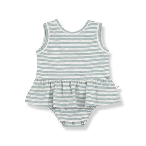 Mint green and white stripe baby dress