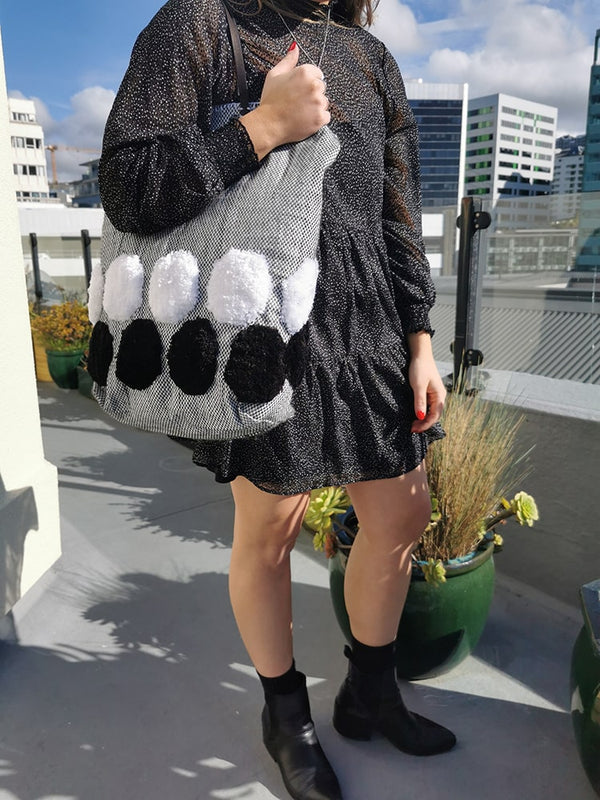 Black + White Spotted Bag