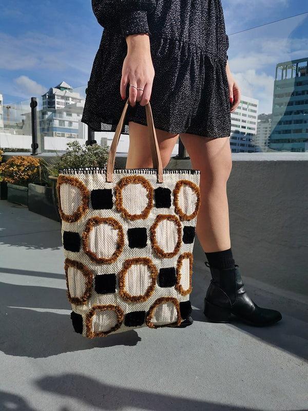 Gold + Black Textured Shopper