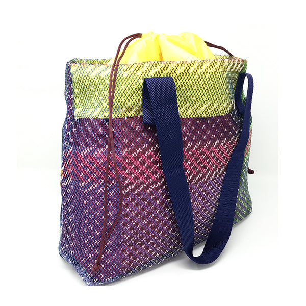 Mesh Tote with Drawstring Lining - Heather