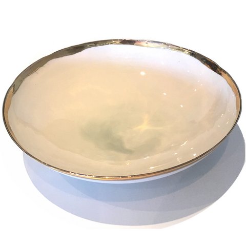 Golden Rimmed Extra Large Bowl - Grey