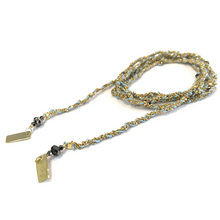 Load image into Gallery viewer, Jewelled Silk & Crystal Wrap - Gold and Aqua