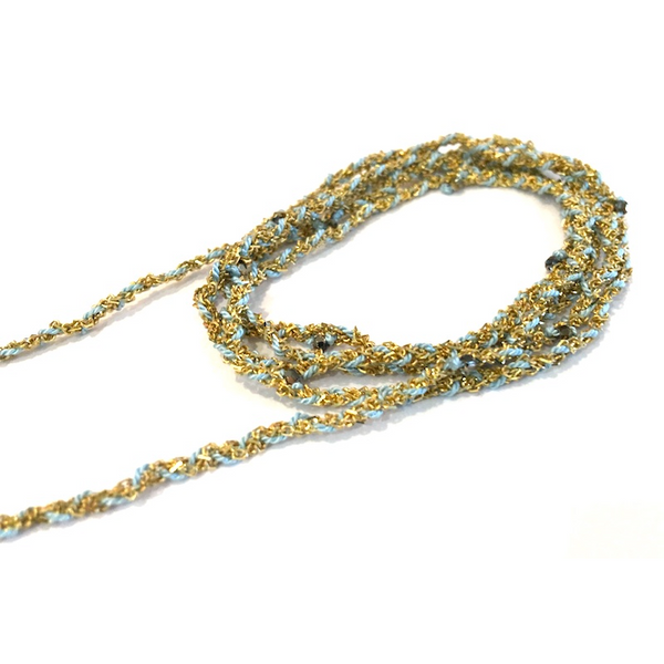 Jewelled Silk & Crystal Wrap - Gold and Aqua