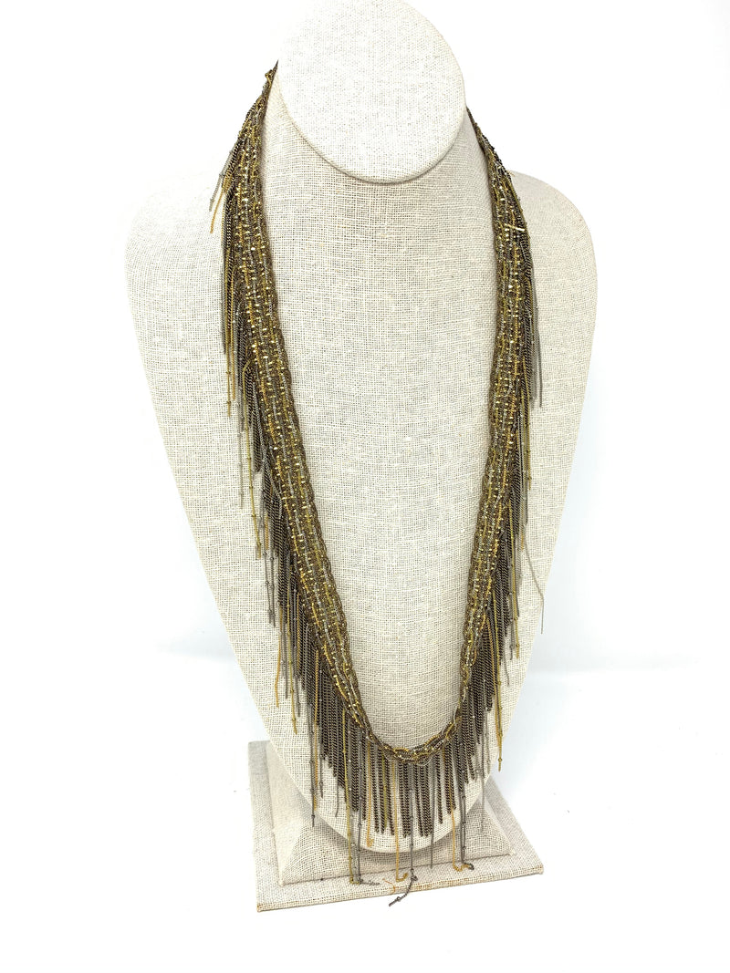 Lurex Lace, Brass Chain, Gold - Necklace