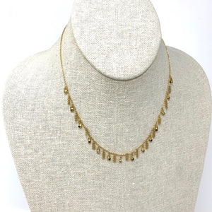 Necklace Sterling Silver Gold Zirconium Beads Multi Gold