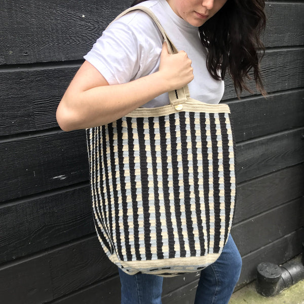 Wayuu Large Tote Navy & White
