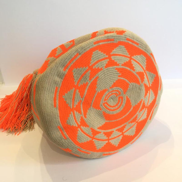 Wayuu Medium Bag - Sand & Bright Orange