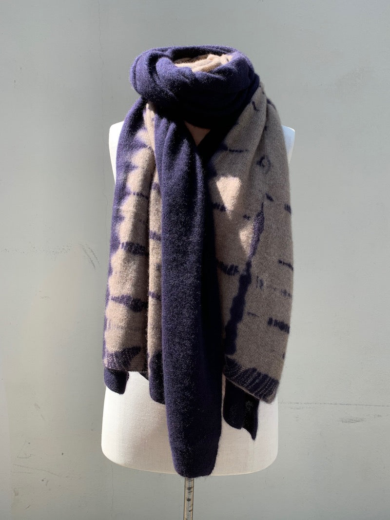 Cashmere Shawl Navy Blue & Light Coffee