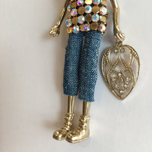 Load image into Gallery viewer, Doll Necklace - Crowned Cat Blue Jeans