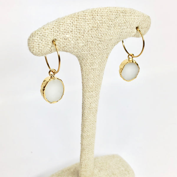 Kara Earrings White Agate