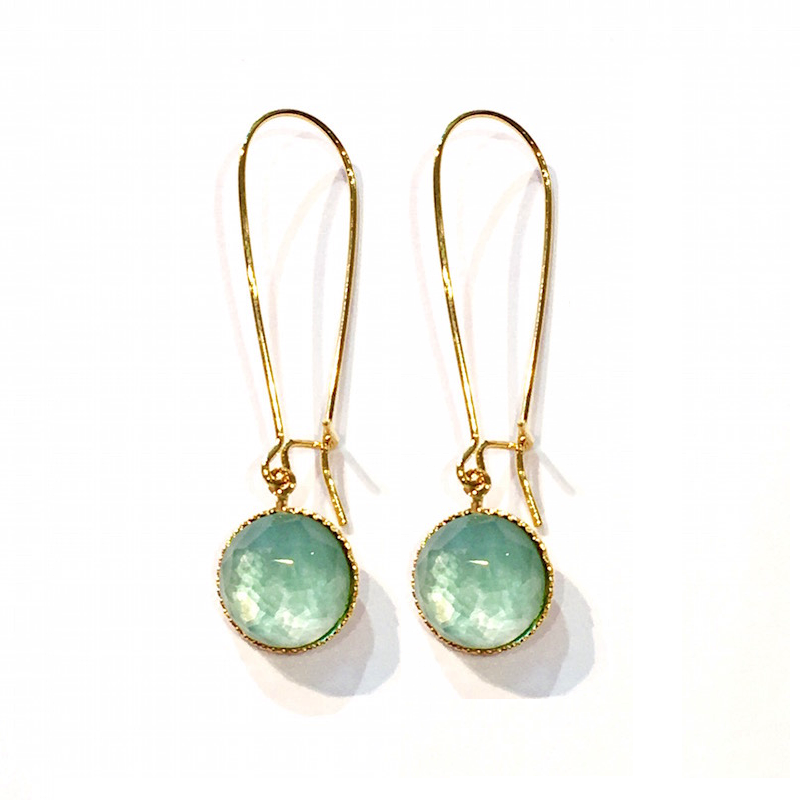Pom Crystal Earrings Long Light Blue
