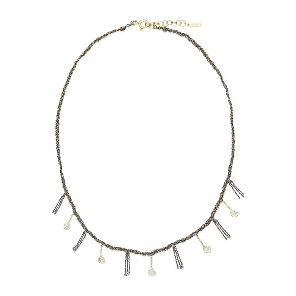 Necklace Sterling Silver & Ruthenium Lurex Gold