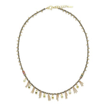 Load image into Gallery viewer, Necklace Sterling Silver, Gold, Zirconium beads Khaki Gold