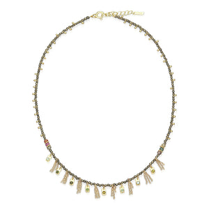 Necklace Sterling Silver, Gold, Zirconium beads Khaki Gold