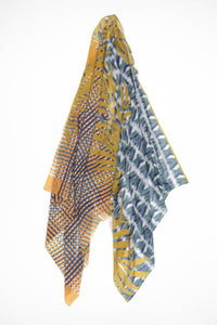 Mystique Silk and Cotton Scarf Ocre