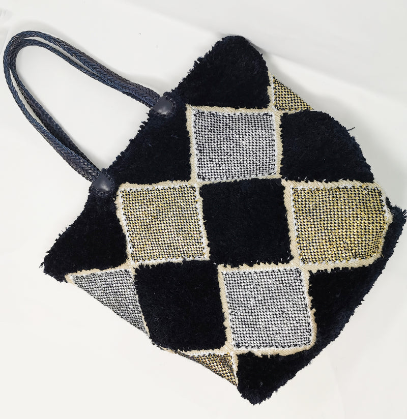 Midnight Leather Woven Handle Shopper