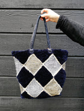 Load image into Gallery viewer, Midnight Leather Woven Handle Shopper