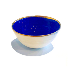 Golden Rimmed 8cm Mini Bowl - Dark Blue