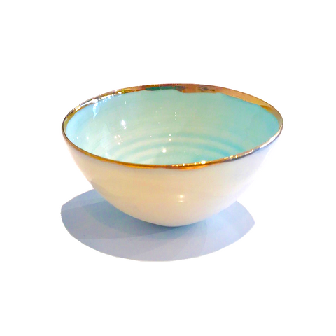 Golden Rimmed Mini 8cm Bowl - Light Blue