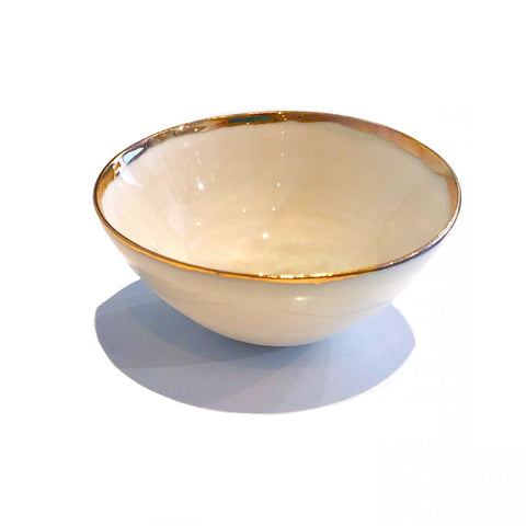 Golden Rimmed Mini 8cm Bowl - Pearl Grey