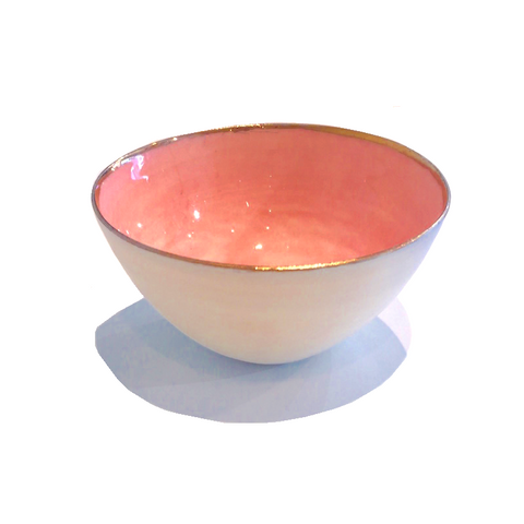 Golden Rimmed Mini 8cm Bowl - Pink