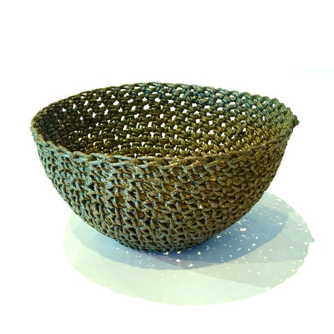 Crocheted & Resin Small Hemp Bowl - Olive Green