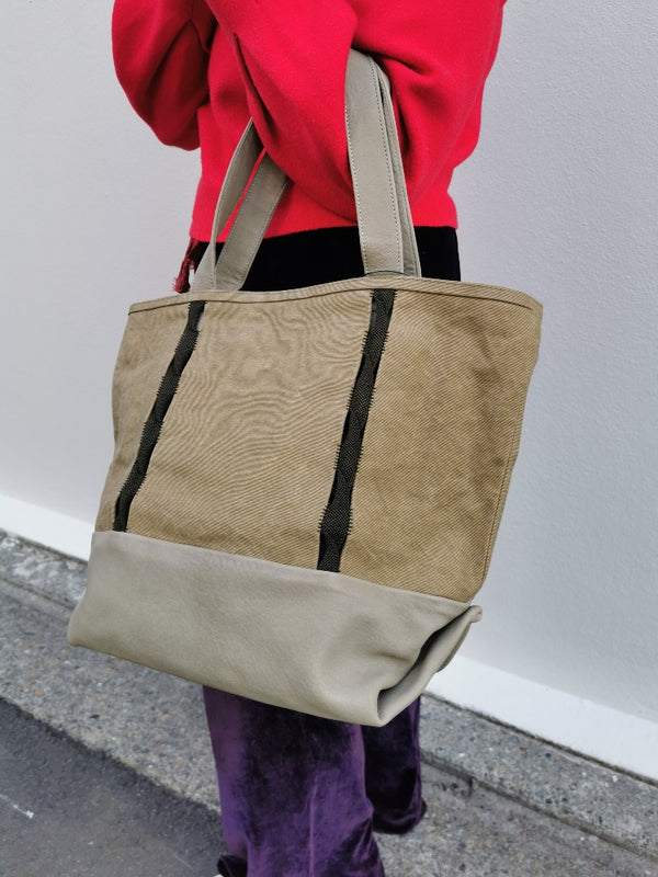 Oualidia Linen & Leather Tote Bag - Kaki