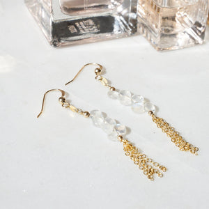 clear glass pebbles with chain tassles long drop earings