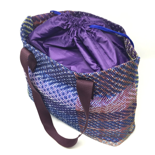 Mesh Tote with Drawstring Lining - Ocean