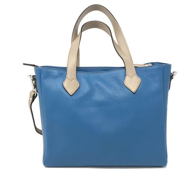 Crossbody Tote Blue with Taupe