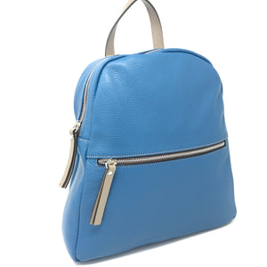 Zipped Leather Backpack Blue with Taupe
