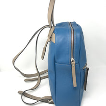 Load image into Gallery viewer, Zipped Leather Backpack Blue with Taupe