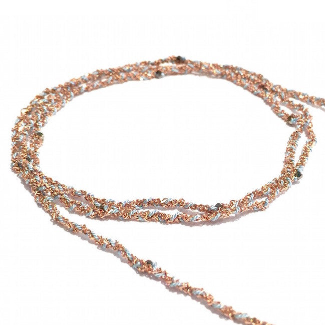 Jewelled Silk & Crystal Wrap - Pink Gold and Aqua