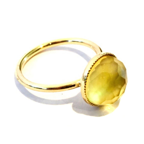 Eva Krsytal POM Ring - Yellow