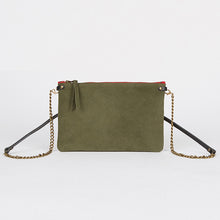Load image into Gallery viewer, Suede Leather Crossbody Bag Khaki