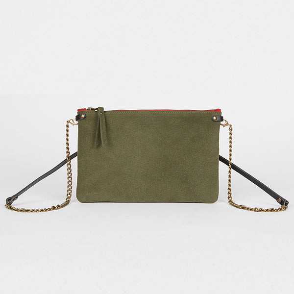 Suede Leather Crossbody Bag Khaki