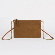 Load image into Gallery viewer, Suede Leather Crossbody Bag Tobacco